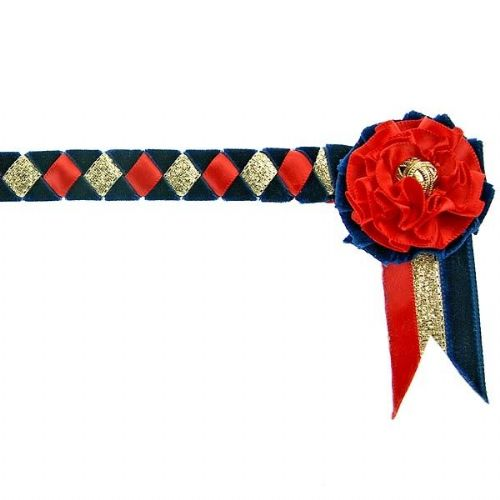 ShowQuest Newport Pony Browband in Navy/Red/Gold